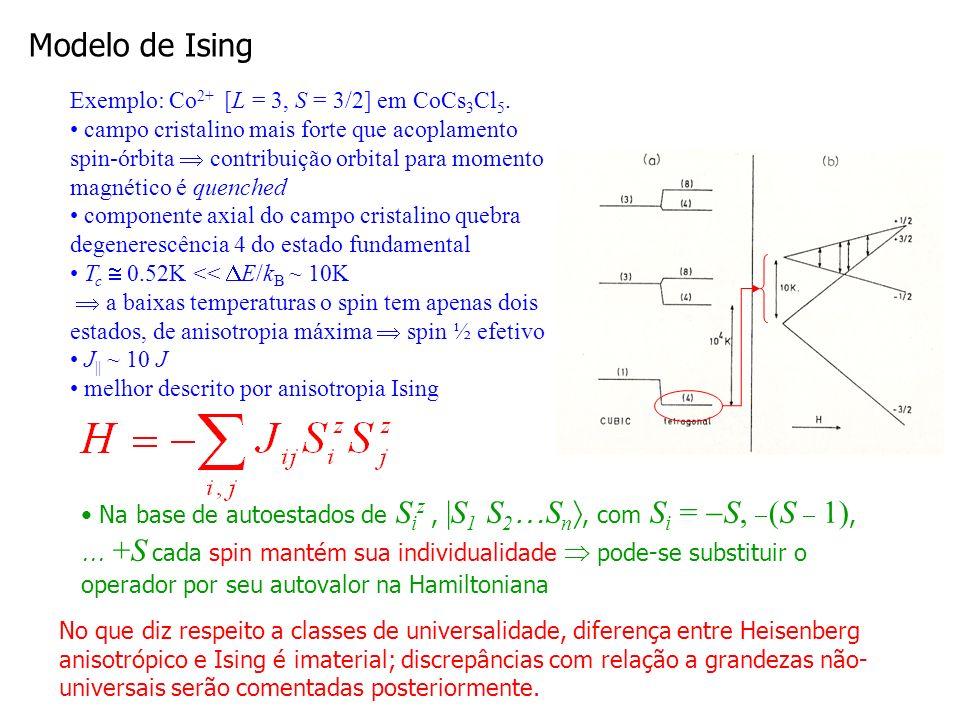 Modelo de Ising Exemplo: Co2+ [L = 3, S = 3/2] em CoCs3Cl5.